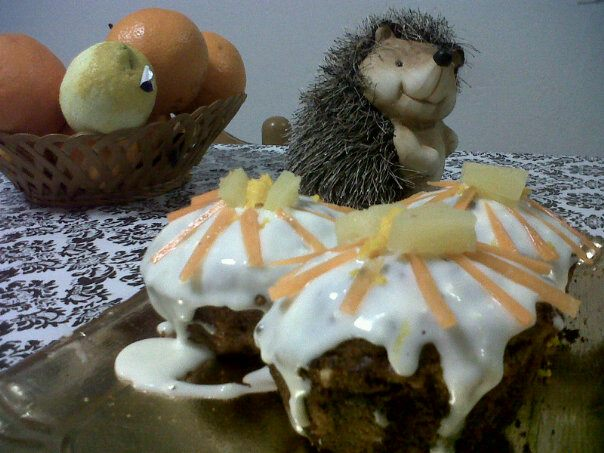 funny hedgehog and my carrot cake muffins