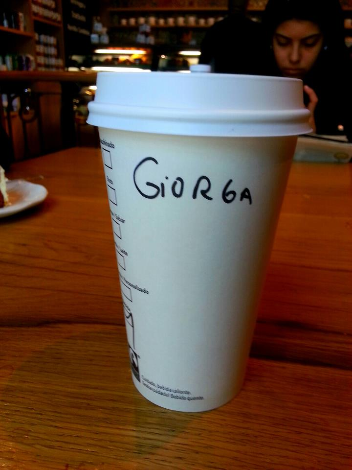 How to spell 'georgette' at any local starbucks