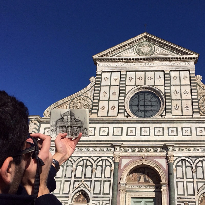 Behind the Basilica of Santa Maria Novella Live Sketch