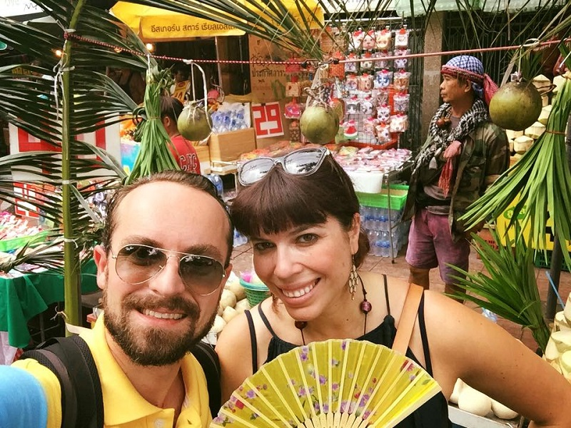 Newly-married and ready for adventure. At the Chatuchak Weekend Market