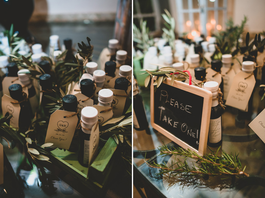 Our personalized olive oil bottles from Pruneti in Tuscany, Photo by: Francesco Spighi
