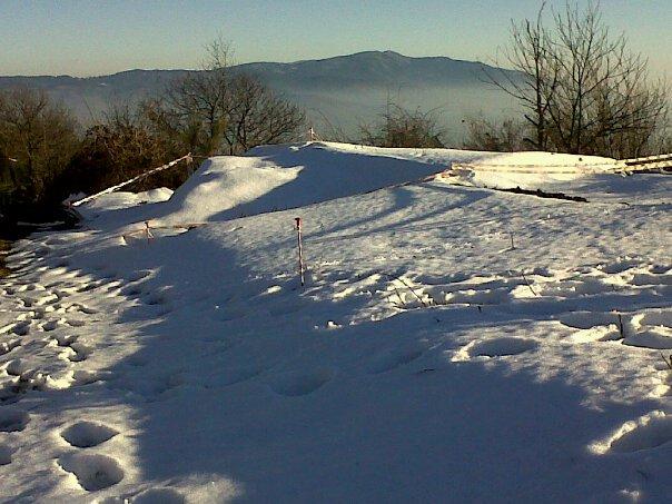 The peak of Monte Giovi in the cold days of winter