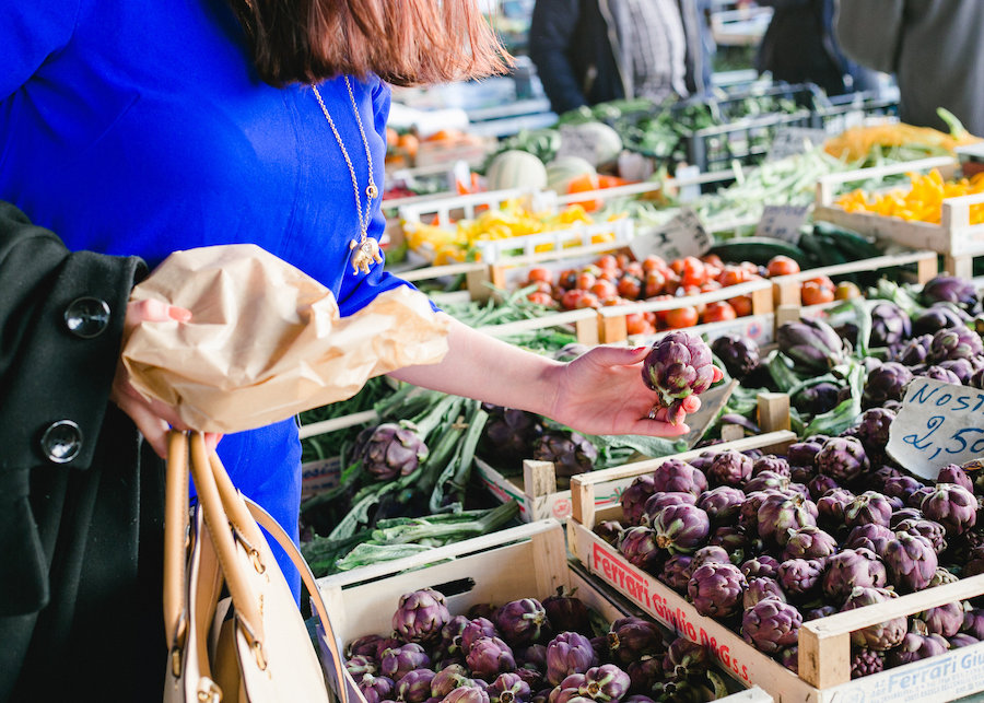 Shopping at Sant'Ambrogio Market: Photo credit Christine Juette Photography