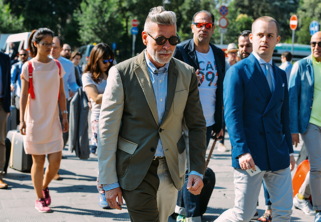 I hate when men dress better than me but alas this is the fate of Pitti Uomo. Photo by Gq.com