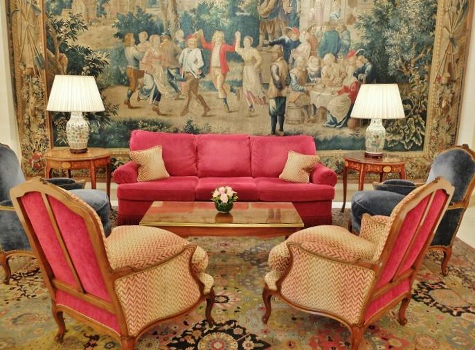 Inside of Le Bristol, like an 18th century luxury dream