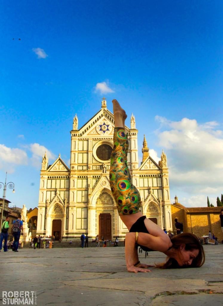 Shari doing Yoga 'on the go' in front of Santa Croce. Photo by Robert Sturman