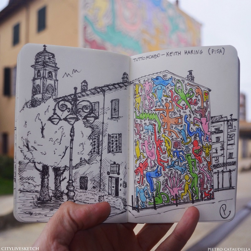Tuttomondo by Keith Haring (Pisa) Live Sketch