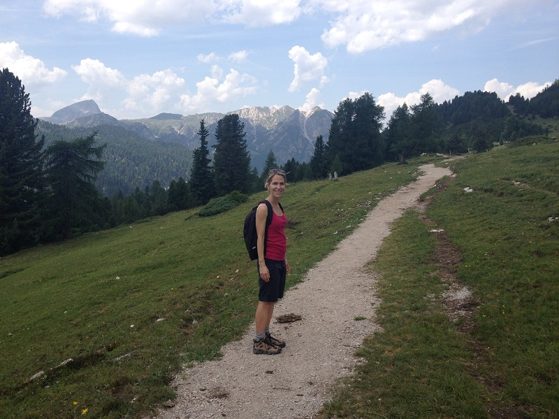 Silvia hiking in the Dolomites