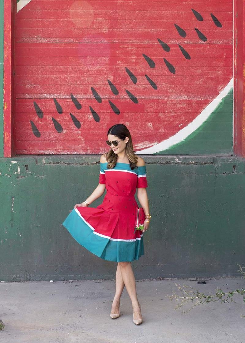Jennifer Lake in the Watermelon Dress