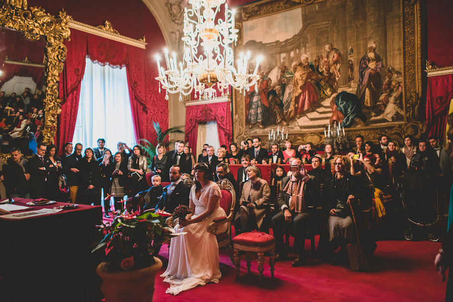 "Our wedding day part one in the ""sala rosso"" or red room in Palazzo Vecchio. Photo credit: Francesco Spighi Photography"